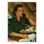 Vintage Patriotic, Medical Nurse on Phone Greeting Card