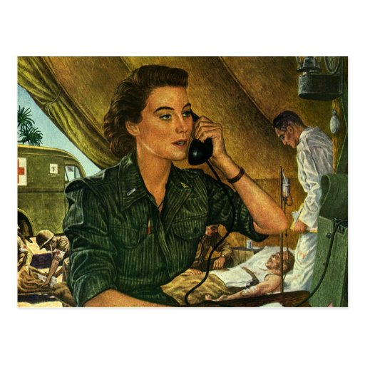 Vintage Patriotic, Medical Nurse on Phone Postcards