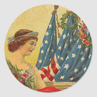 Vintage Patriotic Memorial Day Classic Round Sticker