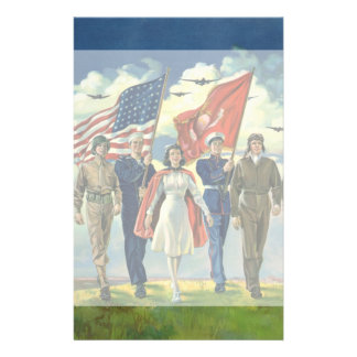 Vintage Patriotic Military Personnel Customized Stationery