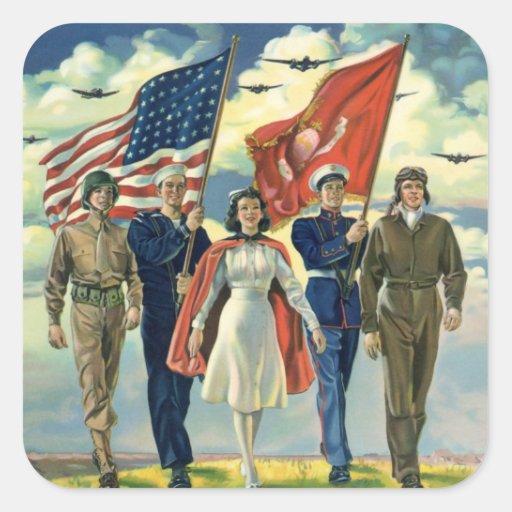 Vintage Patriotic, Military Personnel Square Sticker