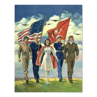 Vintage Patriotic, Proud Military Heros Invitation