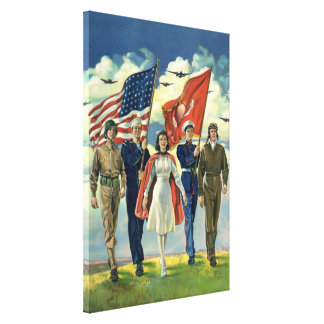 Vintage Patriotic, Proud Military Personnel Heros Canvas Print