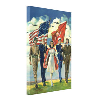 Vintage Patriotic, Proud Military Personnel Heros Gallery Wrapped Canvas