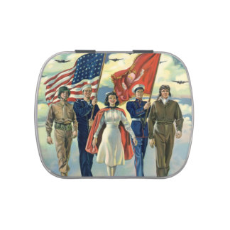 Vintage Patriotic, Proud Military Personnel Heros Jelly Belly Tins