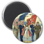Vintage Patriotic, Proud Military Personnel Heros 6 Cm Round Magnet
