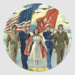 Vintage Patriotic, Proud Military Personnel Heros Round Sticker