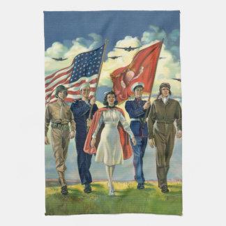 Vintage Patriotic, Proud Military Personnel Heros Hand Towel