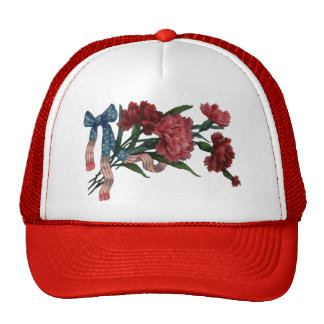Vintage Patriotic Ribbon and Flowers Trucker Hat