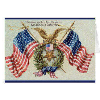 Vintage Patriotic Stars And Stripes Flag Card