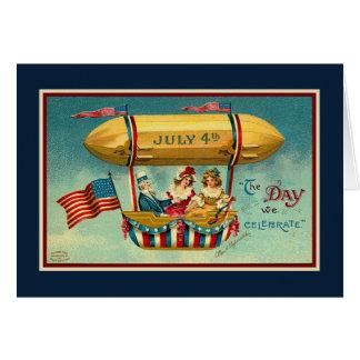 Vintage_Patriotic_Uncle Sam in Hotair Balloon_Card Greeting Card