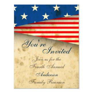Vintage Patriotic US Flag Family Reunion Invite