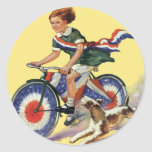 Vintage Patriotism, Girl Riding a Patriotic Bike Round Sticker