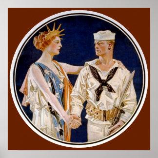 Vintage Patriotism, Lady Liberty with Navy Man Poster