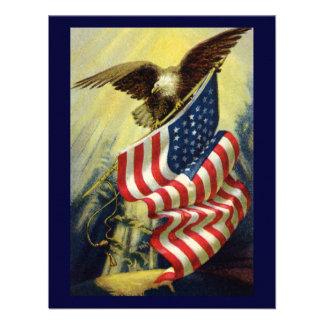 Vintage Patriotism Patriotic Eagle American Flag Custom Invitations