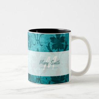 Vintage Pattern Custom Initial White Blue Two-Tone Mug
