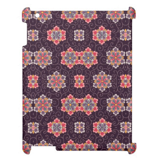 Vintage Pattern Dark Purple Flowers Blue Pink iPad Covers