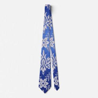 Vintage Pattern Fabric Blue Tie