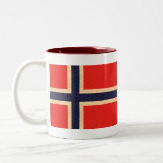 Vintage Pattern Norwegian Flag Two-Tone Coffee Mug