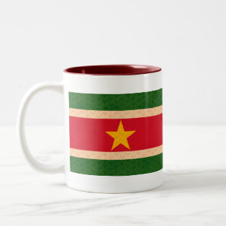 Vintage Pattern Surinamer Flag Two-Tone Coffee Mug