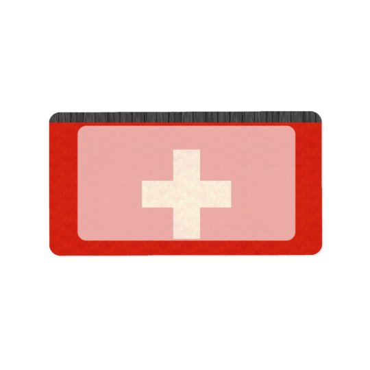 Vintage Pattern Swiss Flag Address Label