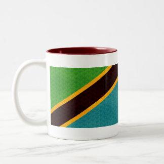 Vintage Pattern Tanzanian Flag Two-Tone Coffee Mug