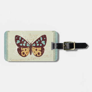 Vintage Patterned Butterfly Luggage Tag