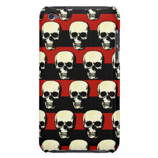Vintage patterned Skulls on red black stripes iPod Touch Cover