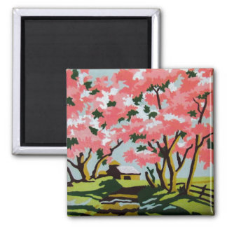 Vintage PBN Pink Cherry Blossom Farmhouse Magnet