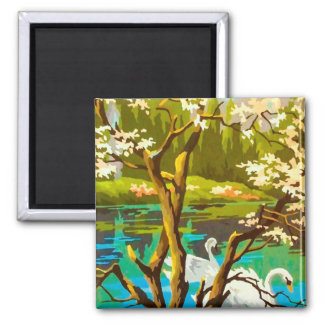 Vintage PBN Scenic Swans Magnet