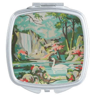 Vintage PBN Swans Pastel Scene Compact Mirror