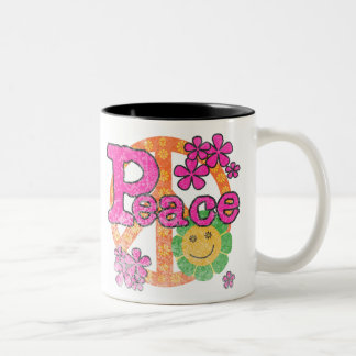 Vintage Peace Two-Tone Coffee Mug