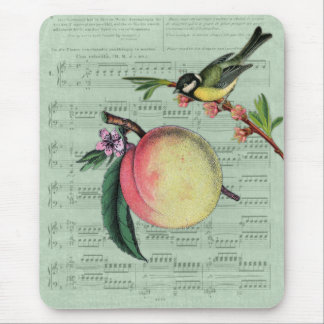 Vintage Peach and Bird Mouse Pad