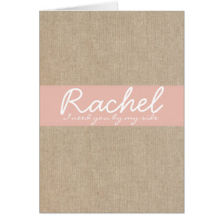 Vintage Peach Burlap Bridesmaid Request Card