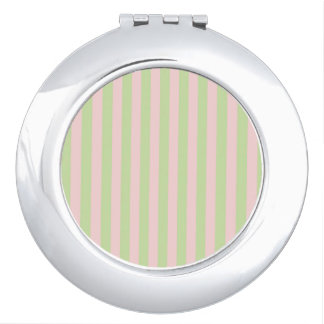 Vintage Peach Green Stripes Pattern Compact Mirrors