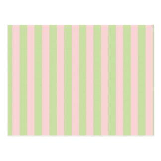Vintage Peach Green Stripes Pattern Postcard