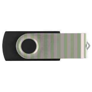 Vintage Peach Green Stripes Pattern Swivel USB 2.0 Flash Drive