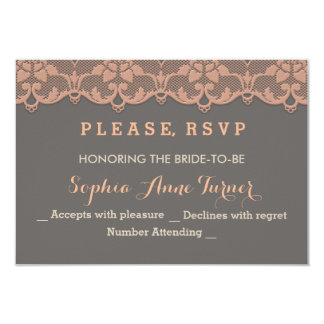 Vintage Peach Grey Lace Wedding RSVP Custom 9 Cm X 13 Cm Invitation Card