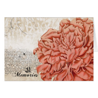 Vintage Peach Peony Note Card