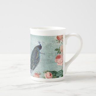Vintage Peacock and Roses Illustration Tea Cup