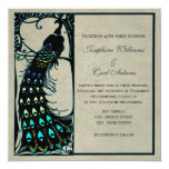 Vintage Peacock Art Nouveau Wedding Invites