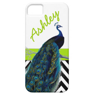 Vintage Peacock Black Chevron Lime Green Name Case For The iPhone 5