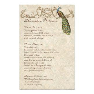 Vintage Peacock Black, Dinner Menu Sheet