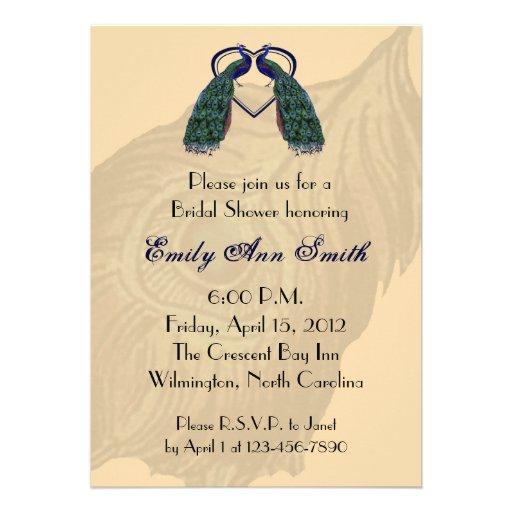 Vintage Peacock Bridal Shower Invitations