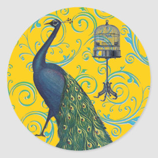 Vintage Peacock & Cage Classic Round Sticker