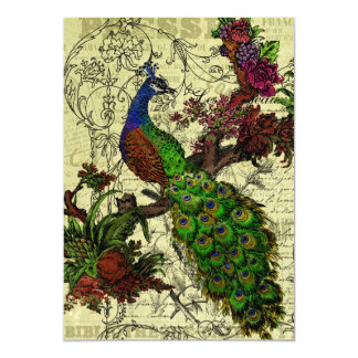 Vintage Peacock Customised Menu Card