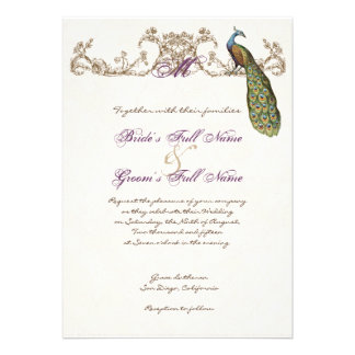 Vintage Peacock Etching Wedding Invitation White