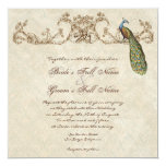 Vintage Peacock & Etchings Hindu Wedding Invite