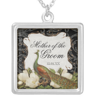 Vintage Peacock & Etchings Mother of the Groom Square Pendant Necklace