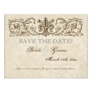 Vintage Peacock Etchings Save the Date Card Custom Invite